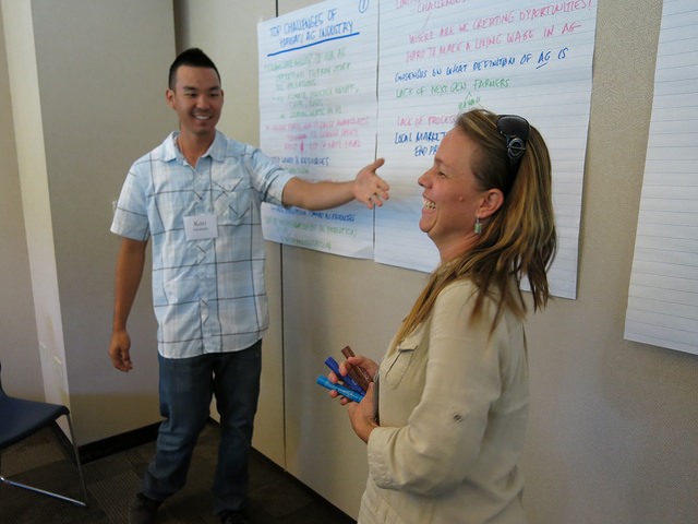 Practicing facilitation & recording skills-- a current ALP class and alum duo.
